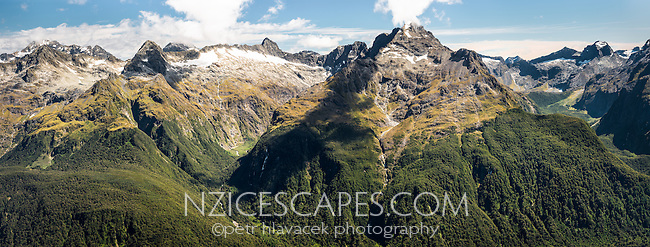 Panorama of Darran Mountains  from Conical Hill 1515m on Routeburn Track. Hollyford Valley below, Fiordland National Park, Southland, UNESCO World Heritage Area, South Island, New Zealand, NZ