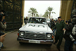UN INSPECTORS LEAVE ONE OF SADDAMS PALACES IN BAGHDAD.