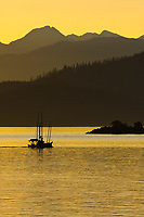 Commercial trolling vessel passes through Sitka Sound, southeast, Alaska.