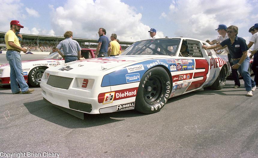 Ricky Rudd 3 Chevrolet on pit road grid Firecracker 400 at Daytona International Speedway in Daytona Beach, FL on July 4, 1983. (Photo by Brian Cleary/www.bcpix.com)