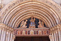 The Gothic doorway of the church of St. Benedict, before the 2106 earthquake, Piazza San Benedetto, Norcia, Umbria, Italy