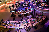 An aerial view of the newsroom at news channel Al Jazeera English in Doha.