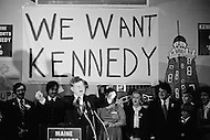 November 9th, 1979, Chicago, Illinois<br /> American politician Edward Kennedy. Kennedy, known as Ted, has been a member of the Democrat Party and Senator of Massachusetts at the US Congress since 1962. Kennedy, brother of former President John F. Kennedy and Senator Robert Kennedy, both of whom were assassinated, is regarded as an icon of the Democrat Party and a liberal. Having officially announced his candidature to the American presidential elections, the senator embarked upon his election campaign. He visited Portland and Chicago and met with many people and associations where he gave the perfect image of a president in the making. Kennedy would later lose the Democratic nomination to Jimmy Carter.