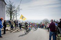 early breakaway group up the 1st climb of the day; the Catsberg/Mont des Cats<br /> <br /> 79th Gent-Wevelgem 2017 (1.UWT)<br /> 1day race: Deinze &rsaquo; Wevelgem - BEL (249km)