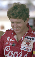 Bill Elliott autographs fans Winston 500 at Alabama International Motor Speedway in Talladega , AL on May 5, 1985. (Photo by Brian Cleary/www.bcpix.com)