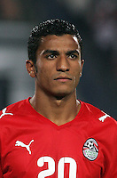 Egypt's Hussam Arafat (20) stands on the field before the match against Costa Rica during the FIFA Under 20 World Cup Round of 16 match between Egypt and Costa Rica at the Cairo International Stadium on October 06, 2009 in Cairo, Egypt.