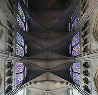 View from below of the high vaulted Gothic ceiling with clerestories, triforium and tiered arches to the either side, nave, Notre-Dame de Reims (Our Lady of Rheims), pictured on February 15, 2009, 13th - 15th century, Roman Catholic Cathedral where the kings of France were crowned, Reims, Champagne-Ardenne, France.