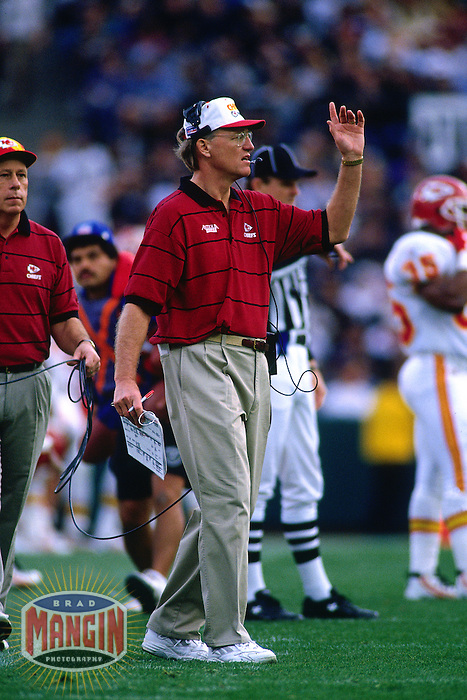 SAN DIEGO, CA - Head coach Marty Schottenheimer of the Kansas City Chiefs in action during a game against the San Diego Chargers at Jack Murphy Stadium in San Diego, California in 1995. Photo by Brad Mangin