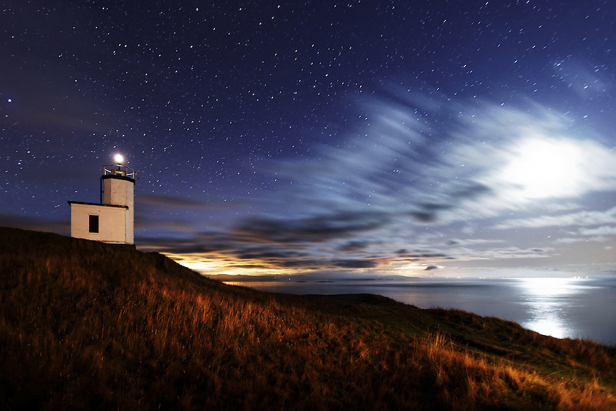 Cattle Point Lighthouse under starry sky, San Juan Island,  San Juan County, Washington, USA