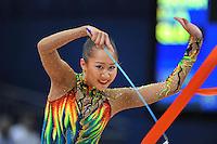 September 10, 2009; Mie, Japan;  Aliya Garayeva of Azerbaijan is closeup with ribbon during event finals at 2009 World Championships Mie.  Photo by Tom Theobald.