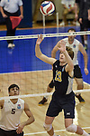27 APR 2014: Matt Elias of Juniata College sets against Juniata College during the  Division III Men's Volleyball Championship held at the Kennedy Sports Center in Huntingdon, PA. Springfield defeated Juniata 3-0 to win the national title.  Mark Selders/NCAA Photos