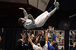 23 MAR 2012:  Rebecca Ward of Duke is tossed in the air after beating Monica Aksamit of Penn State in the saber competition of the Division I Women's Fencing Championship held at St. John Arena on the Ohio State University campus in Columbus, OH. Ward defeated Aksamit 15-12 to claim the national title.  Jay LaPrete/ NCAA Photos