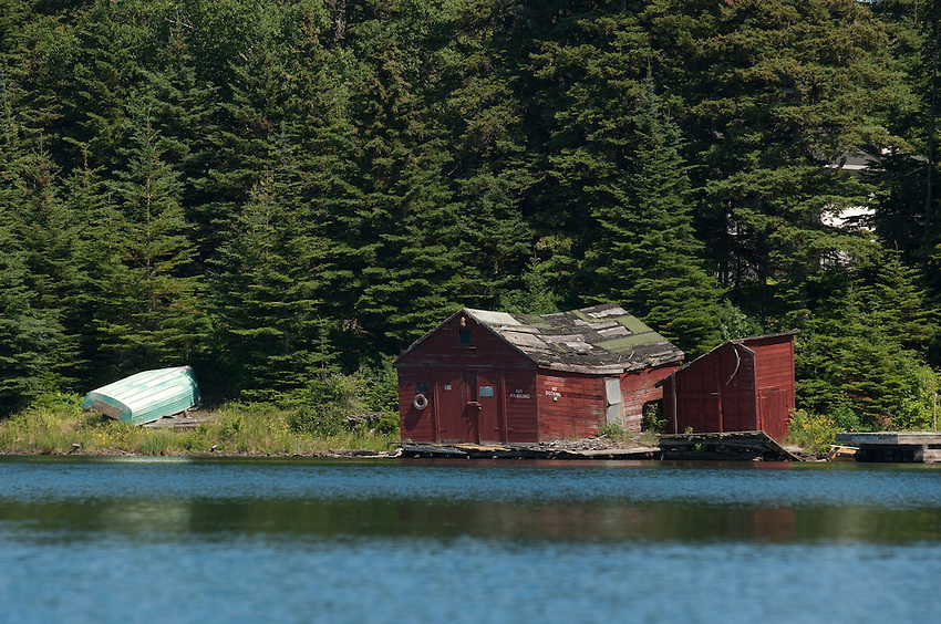 An old boathouse at Tobin Harbor at Isle Royale National Park.