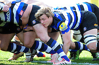 David Denton of Bath Rugby in action at a scrum. Aviva Premiership match, between Bath Rugby and Harlequins on February 18, 2017 at the Recreation Ground in Bath, England. Photo by: Patrick Khachfe / Onside Images