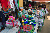 Hmong tribe women shopping at Muong Hum market, Vietnam.