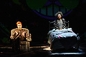 """London, UK. 01.12.2015. """"wonder.land"""", a new musical inspired by Lewis Carroll's """"Alice in Wonderland"""", created by Damon Albarn, Moira Buffini and Rufus Norris, opens at the National Theatre, in the Olivier. Picture shows: Hal Fowler (Cheshire Cat), Lois Chimimba (Aly). Photograph © Jane Hobson."""