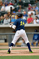 Second baseman Milton Ramos (24) of the Columbia Fireflies bats in a game against the Lexington Legends on Sunday, April 23, 2017, at Spirit Communications Park in Columbia, South Carolina. Lexington won, 4-2. (Tom Priddy/Four Seam Images)