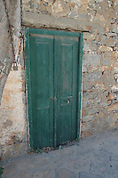 Greek green door