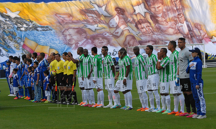 BOGOTA- COLOMBIA -04 -02-2014: Los jugadores de Millonarios y Atletico Nacional durante partido de la cuarta fecha de la Liga Postobon I 2014, jugado en el Nemesio Camacho El Campin de la ciudad de Bogota. / The players of Millonarios and Atletico Nacional during a match for the fourth date of the Liga Postobon I 2014 at the Nemesio Camacho El Campin Stadium in Bogoto city. Photo: Luis Ramirez / Staff