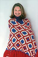 Christie Brinkley models crochet winter fashion pieces, 1975. Photo by John G. Zimmerman.