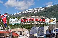 Welcome to Ketchikan sign, downtown, Ketchikan, Alaska.