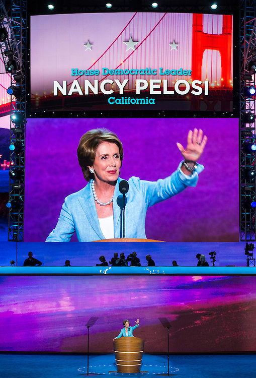UNITED STATES - SEPTEMBER 5: House Minority Leader Nancy Pelosi, D-Calif., speaks at the Democratic National Convention at Time Warner Cable Arena in Charlotte, N.C., on Wednesday, Sept. 5, 2012. (Photo By Bill Clark/CQ Roll Call)