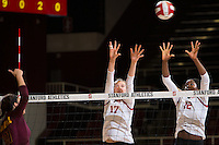 STANFORD, CA - October 15, 2016: Merete Lutz,Inky Ajanaku at Maples Pavilion. The Cardinal defeated the Arizona State Sun Devils 3-1.