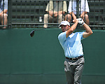 Golfer Vance Veazey tees off on the 1st hole at the PGA FedEx St. Jude Classic at TPC Southwind in Memphis, Tenn. on Thursday, June 9, 2011.