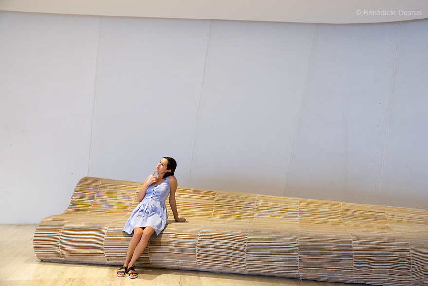 A french tourist is pictured inside TheInternational Museum of the Baroque(Museo Internacional del Barrocoin Spanish) in Puebla, Mexico on April 22, 2017. The Museum is dedicated to baroque art and was designed by acclaimed Japanese architect Toyo Ito. It opened on February 2016. Photo by Bénédicte Desrus