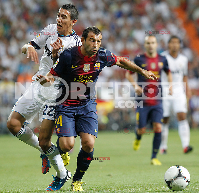 Real Madrid's Angel di Maria and F.C. Barcelona's Javier Mascherano during Spanish Supercup 2nd match on august 29 2012...Photo: Alex Cid-Fuentes / ALFAQUI /NortePhoto.com<br />