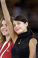 October 21, 2001; Madrid, Spain:  OLENA VITRICHENKO of Ukraine waves to fans at 2001 World Championships at Madrid.