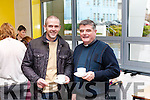 Memorial Garden opened and unveiling of Stone sculpture in Colaiste Ide agus Iosef Enjoying a cuppa is Fr. Toni Mullins with local sculptor Ruairi Dennison.
