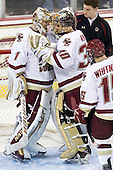 John Muse (BC - 1), Chris Venti (BC - 30), Stephen Greenberg (BC - Senior Manager) - The Boston College Eagles defeated the visiting Merrimack College Warriors 3-2 on Friday, October 29, 2010, at Conte Forum in Chestnut Hill, Massachusetts.