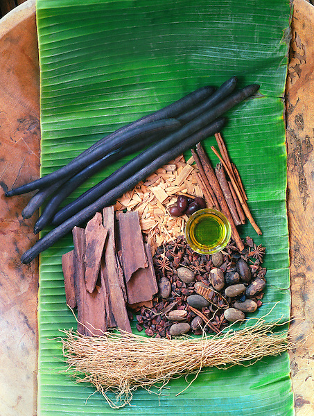 Location: Mandala Spa -Boracay Island - Philippines. Raw Herbs for Aromatherapy: Golden Shower (pods),Sandal Wood(chips), Cinnamon(sticks), Nutmeg, Star Anise,Bark (name?-used for heart), aromatic oil