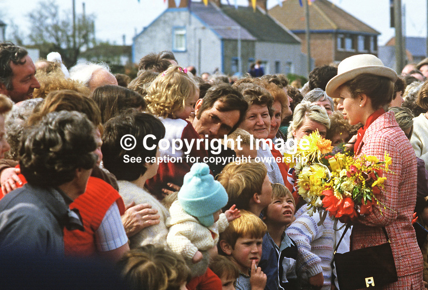 Princess Anne on a May 1985 Royal Visit to N Ireland meets villagers, young and old in the Co Down fishing village of Portavogie. She was there to officially reopen the harbour. 19850502c.<br />