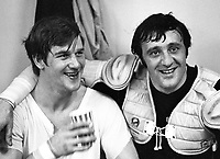 Boston Bruins Bobby Orr and Phil Esposito in the dressing room after beating the Seals..(1971 photo by Ron Riesterer)