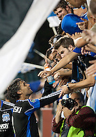 Chris Wondolowski celebrates with fans after the game. The San Jose Earthquakes defeated the Philadelphia Unioin 1-0 at Buck Shaw Stadium in Santa Clara, California on September 15th, 2010.