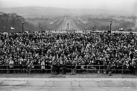 UUUC Victory Rally at front of Parliament Buildings, Stormont, N Ireland, 9th March 1974 which was addressed by the main political leaders.  197403095837<br />