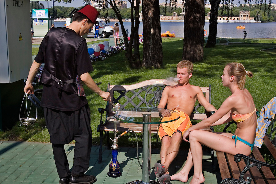 Moscow, Russia, 08/07/2005..The Europa Plus beach party at the Pokrovka Bereg Beach Club on the Moscow River.