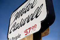 A view of the sign for Motel Caswell in Tewksbury, Massachusetts, USA, on Tuesday, Oct. 11, 2011. The motel is owned by Russell Caswell. Caswell's father built the motel in the 1950s. Now, conservative activitists are trying to use federal asset-forfeiture laws to seize the motel, saying that the motel is used by drug dealers to conduct business.  The legal challenge intends to show evidence tying the property to crimes in order to seize the motel.....CREDIT: M. Scott Brauer for the Wall Street Journal.slug: FORFEIT
