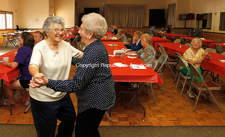 TORRINGTON, CT - 26 SEPTEMBER 2015 - 092615JW15.jpg -- Eva Piekos and Marie DiPippo dance a polka Saturday afternoon during the Knights of Columbus Oktoberfest Saturday afternoon. Jonathan Wilcox Republican-American