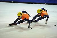 SHORTTRACK: AMSTERDAM: 05-01-2014, Jaap Edenbaan, NK Shorttrack, 1000m, Sjinkie Knegt (#89), Christiaan Bökkerink (#91), ©foto Martin de Jong