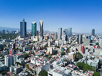Views of mexico city from Glorieta las Cibeles in the Condesa. aerial drone photography, Mexico City, Mexico