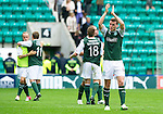 Hibs v St Johnstone...25.08.12   SPL.Paul Hanlon apllauds at full time.Picture by Graeme Hart..Copyright Perthshire Picture Agency.Tel: 01738 623350  Mobile: 07990 594431