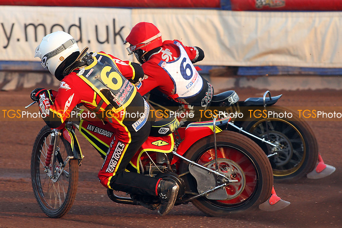 Heat 2: Lyons (red) and Wethers - Lakeside Hammers vs Wolverhampton Wolves - Sky Sports Elite League Speedway at Arena Essex Raceway, Purfleet - 24/05/10 - MANDATORY CREDIT: Gavin Ellis/TGSPHOTO - Self billing applies where appropriate - Tel: 0845 094 6026