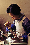 Woman Painting Small Sculture