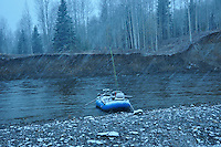 A snowy morning and raft on a tributary of British Columbia's Skeena river.