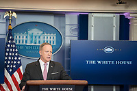 Washington DC, April 13, 2017, USA: Sean Spicer, the White House Press Secretary gives the daily briefing in the White House press room in Washington, DC.  <br /> CAP/MPI/PYL<br /> &copy;PYL/MPI/Capital Pictures