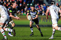 Rhys Priestland of Bath Rugby in possession. Aviva Premiership match, between Bath Rugby and London Irish on March 5, 2016 at the Recreation Ground in Bath, England. Photo by: Patrick Khachfe / Onside Images
