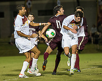 The Winthrop University Eagles played the College of Charleston Cougars at Eagles Field in Rock Hill, SC.  College of Charleston broke the 1-1 tie with a goal in the 88th minute to win 2-1.  Achille Obougou (7), Ike Crook (11), Walker Johnson (14)
